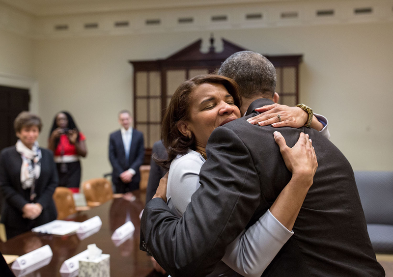 Obama hugging lady